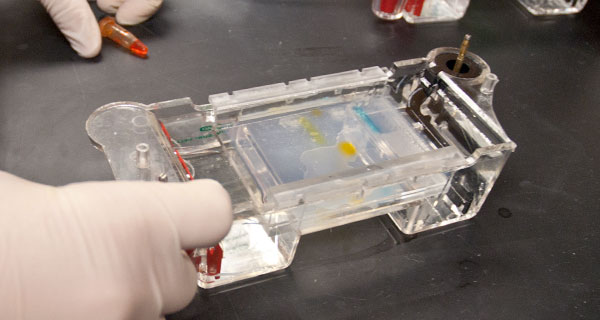A BTP trainee uses a gel box.